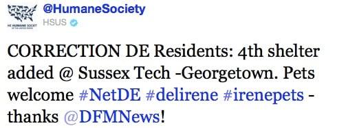 Humane Society of the US #Irene Hashtag #petsirene