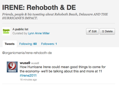 Twitter List for Irene First Responders: Rehoboth se