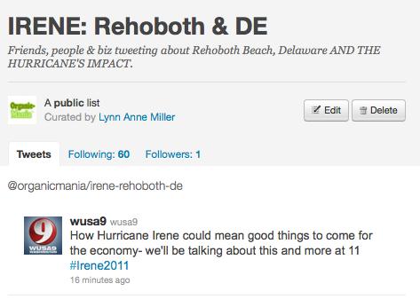 Twitter List for Irene First Responders: Rehoboth se